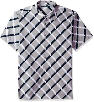 Perry Ellis Men's Short Sleeve Graphic Linear Print Shirt