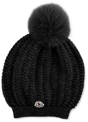 Moncler Bailey Slouchy Fur-Pom Beanie Hat