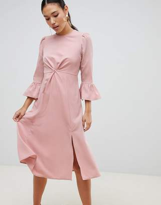 Asos DESIGN fluted sleeve midi dress with knot front