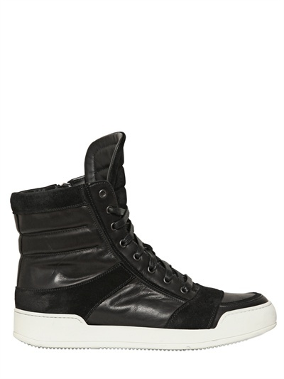 Balmain - Suede And Leather High Top Sneakers