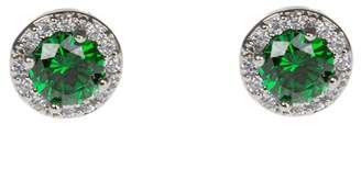 Kenneth Jay Lane CZ By Prong Set Green CZ & Halo Stud Earrings
