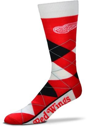 For Bare Feet Adult Detroit Red Wings Argyle Line Up Crew Socks