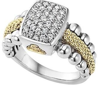 Women's Lagos Diamond Caviar Square Ring $1,895 thestylecure.com