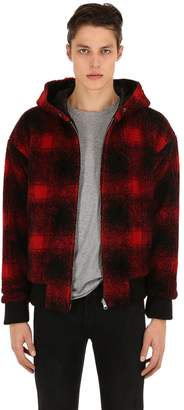 The Kooples Hooded Plaid French Terry Jacket