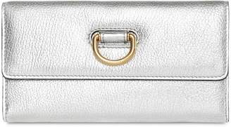 Burberry D-ring Metallic Leather Continental Wallet