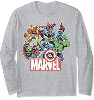 Marvel Avengers Team Retro Comic Vintage Long Sleeve Tee