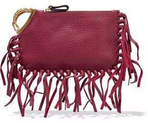 Valentino Scorpio Fringe-Trimmed Embellished Textured-Leather Clutch