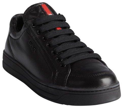 Prada black Sport supple leather lace up flatform sneakers