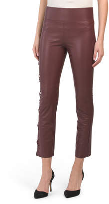Gemma Smooth Faux Leather Lace Up Leggings