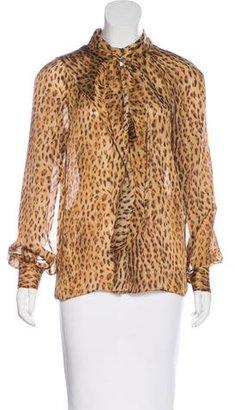 Rachel Roy Cheetah Ruffled Blouse $65 thestylecure.com