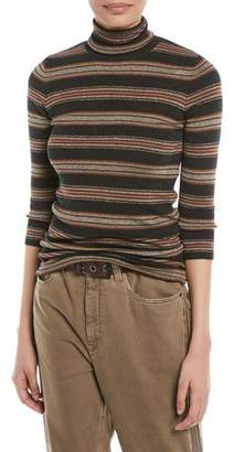 Brunello Cucinelli Metallic Striped Wool-Cashmere Turtleneck Sweater