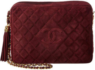 Chanel Burgundy Quilted Suede Large Cc Camera Bag