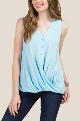 francesca's Johanna Twist Front Covered Button Top - Light Blue