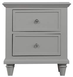 Emerald Home Home Decor IV Light Gray Nightstand with Turned Wood Legs And Brushed Nickel Hardware, 2-drawer