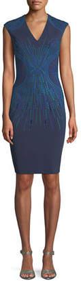 ph15 Embroidered V-Neck Sheath Dress