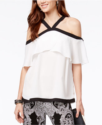 INC International Concepts Cold-Shoulder Halter Top, Only at Macy's $69.50 thestylecure.com