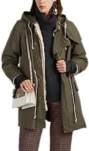 Women's Faux-Fur-Lined Cotton Military Coat - Beige, Khaki