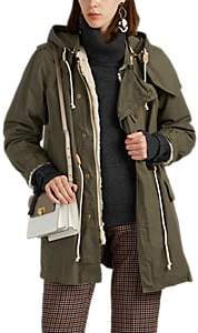 08sircus Women's Faux-Fur-Lined Cotton Military Coat - Beige, Khaki