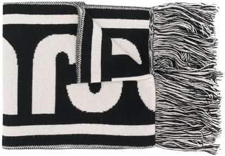 Just Cavalli fringed intarsia scarf