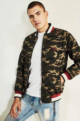 boohoo Dele Camo Bomber Jacket With Chest Embroidery