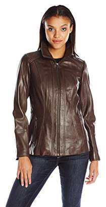 Anne Klein Women's Zip-Front Leather Jacket with Convertible Collar