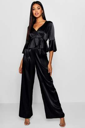 boohoo Satin Wide Leg Trousers