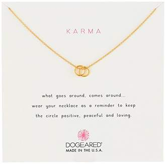 """Dogeared Karma"""" Dipped Sterling Silver Linked Ring Charm Necklace"""