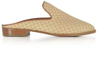 019dbbcae6d6 Clergerie Aliceop Natural Woven Raffia And Terracotta Brown Leather Flat  Mules