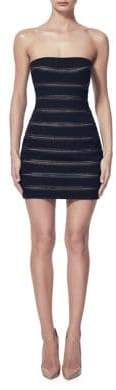 Misha Collection Striped Mesh Strapless Dress