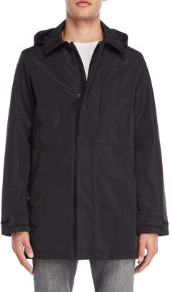 DKNY Black Hooded Water Resistant Coat