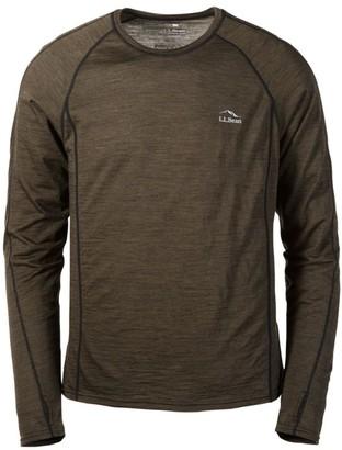L.L. Bean L.L.Bean Men's Cresta Wool Ultralight 150 Base Layer, Long-Sleeve Stripe