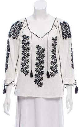 Ulla Johnson Embroidered Three-Quarter Sleeve Blouse