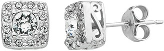 Diamond Splendor Crystal & Diamond Accent Sterling Silver Square Halo Stud Earrings