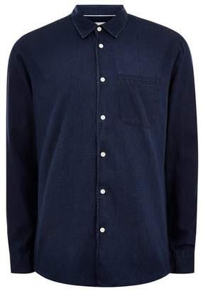 Topman Mens SELECTED HOMME Blue Denim Organic Cotton Shirt
