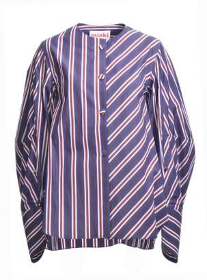 MINKI LONDON Navy Blue and Burgundy Striped Shirt - last one