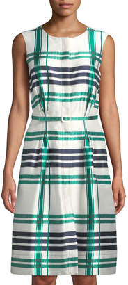 Oscar de la Renta Sleeveless Plaid Sateen Midi Dress, Green