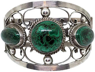 One Kings Lane Vintage Sterling & Malachite Hinged Bangle - Little Treasures