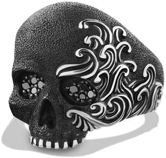 David Yurman 'Waves' Large Skull Ring with Black Diamonds