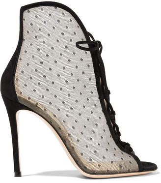 Gianvito Rossi 105 Lace-up Swiss-dot Mesh Ankle Boots - Black