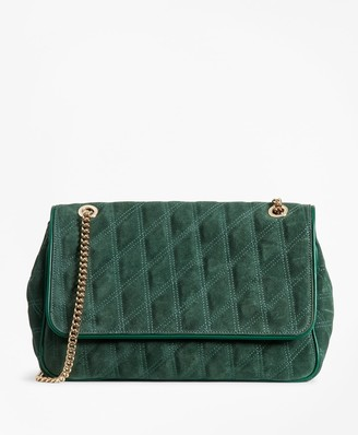 Brooks Brothers Quilted Suede Convertible Cross-body Bag