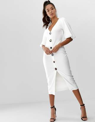 Asos Design DESIGN slinky rib button through midi dress with puff sleeve