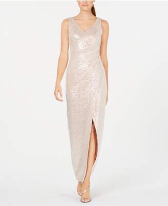 Calvin Klein Ruched Sequin Gown