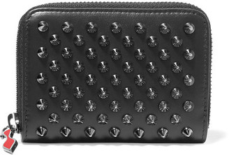 Christian Louboutin - Panettone Spiked Leather Wallet - Black $290 thestylecure.com