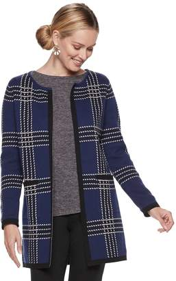 Elle Women's Print Open-Front Long Cardigan Jacket