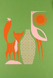 Push Me Pull You Design Fox and Stork Print