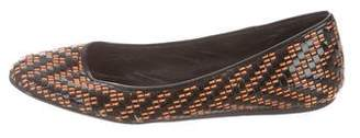Burberry Round-Toe Woven Flats