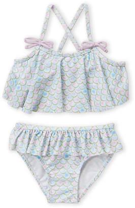 Sol Swim (Toddler Girls) Two-Piece Sparkle Mermaid Bikini Top & Bottom Set