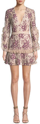 La Maison Talulah Anaphora V-Neck Ruffled Long-Sleeve Floral-Embroidered Short Dress