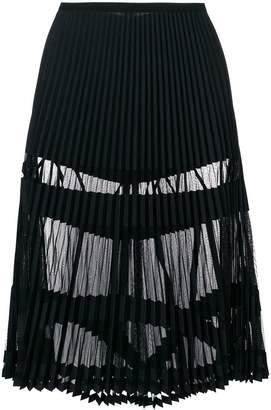 Versace sheer panelled pleated skirt