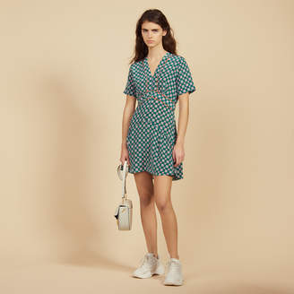 Sandro Short Printed Silk Dress